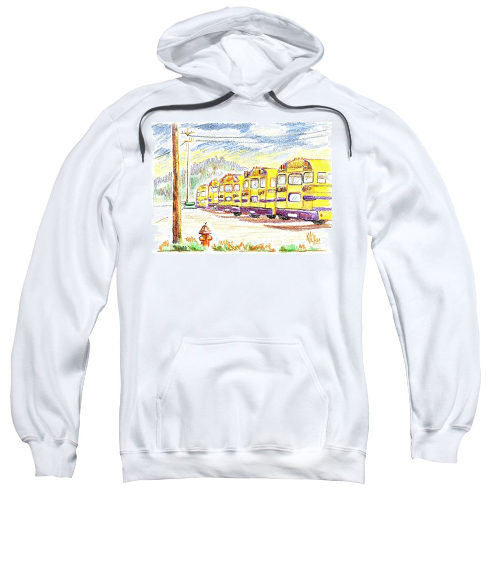 School Bussiness Sweatshirt featuring the mixed media School Bussiness by Kip DeVore