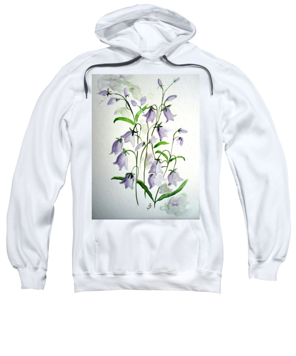 Blue Bells Hare Bells Purple Flower Flora Sweatshirt featuring the painting Scottish Blue Bells by Karin Dawn Kelshall- Best