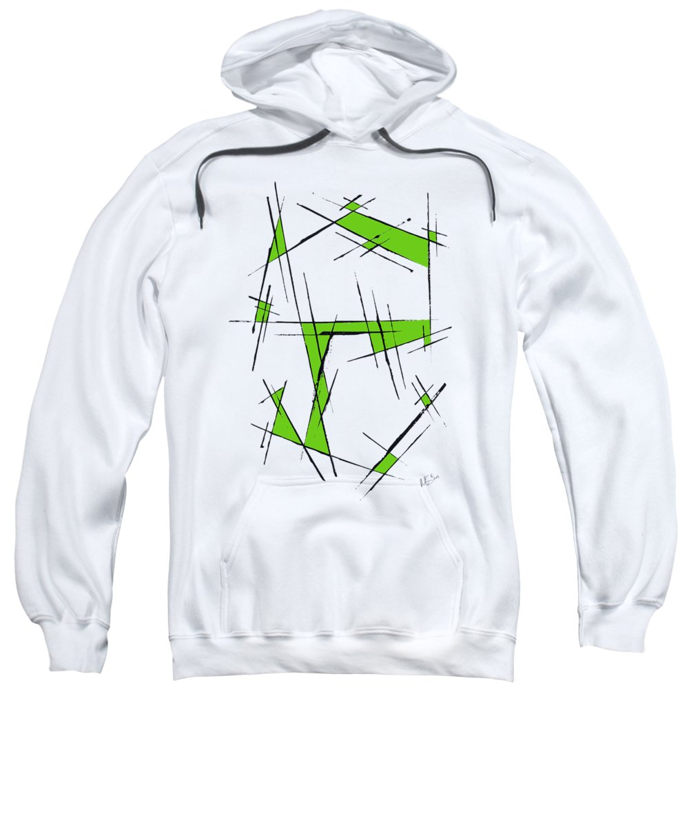 Green Sweatshirt featuring the painting Scratched With Green by Melissa Smith