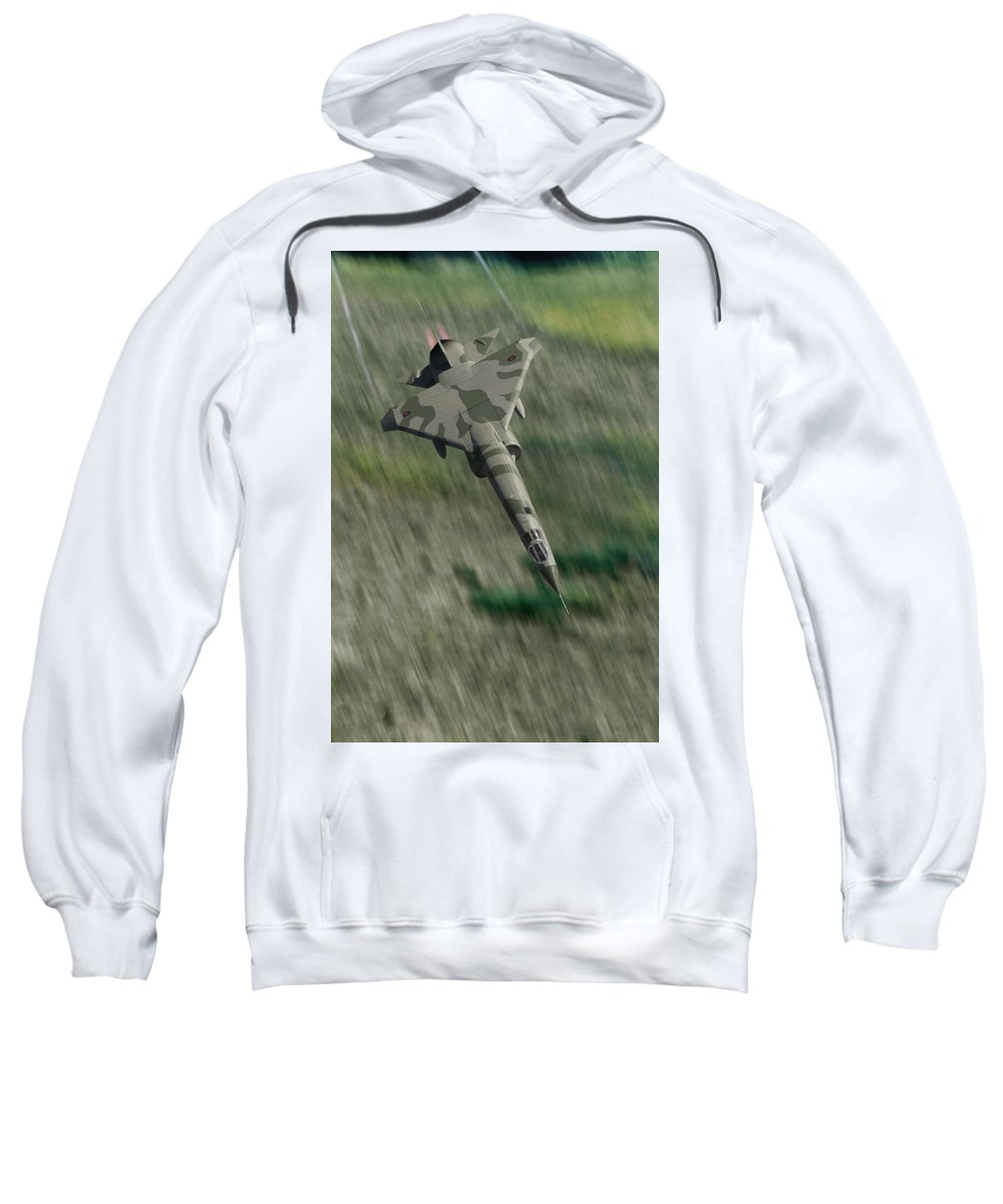 Royal Air Force Sweatshirt featuring the digital art Screaming In Low by Erik Simonsen