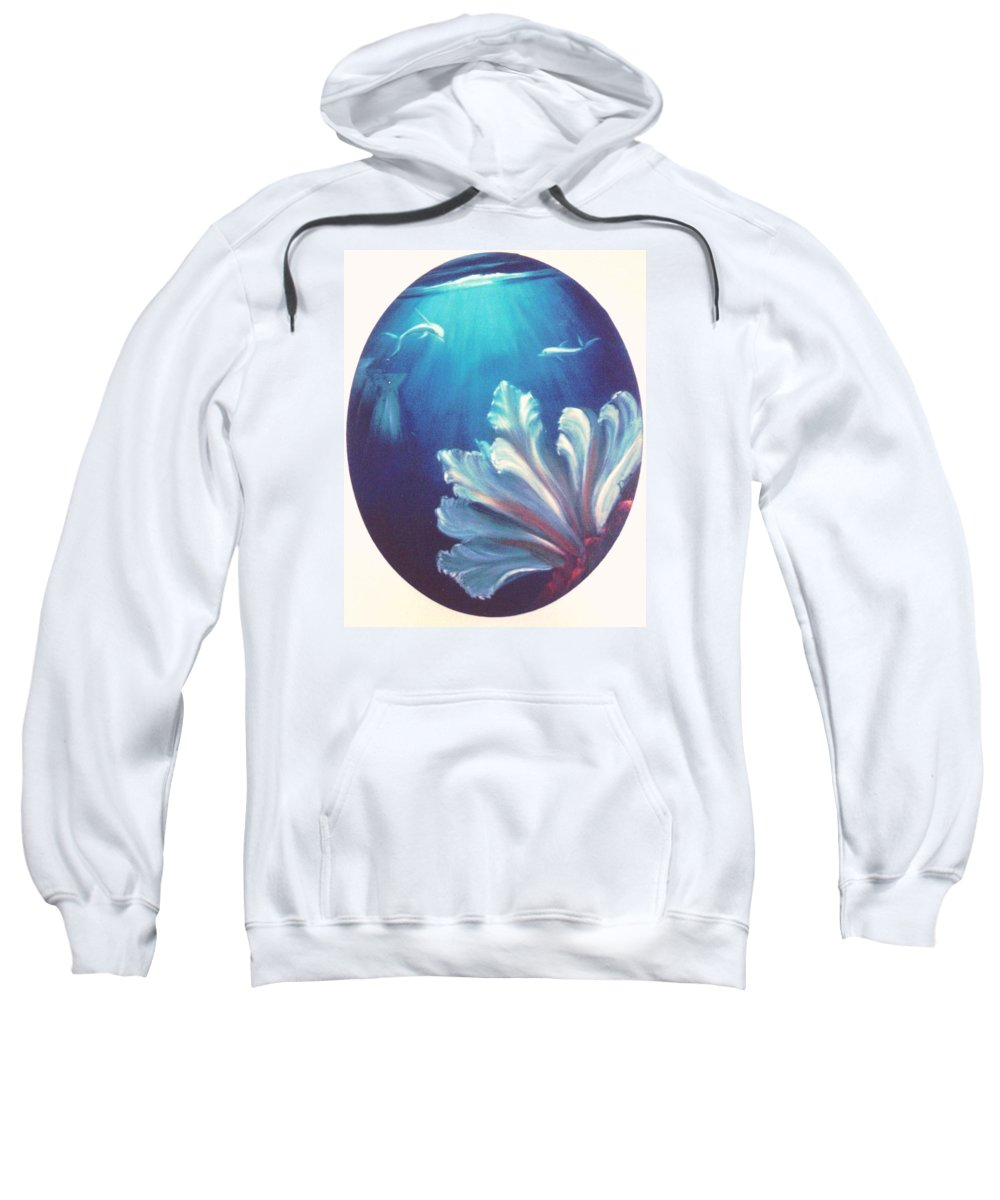 Underwater Sweatshirt featuring the painting Sea Fan by Dina Holland