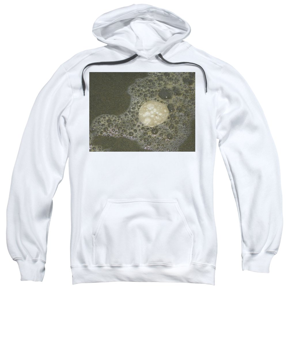 Photography Sweatshirt featuring the photograph Sea Foam Over Sand Dollars by Laurie Kidd