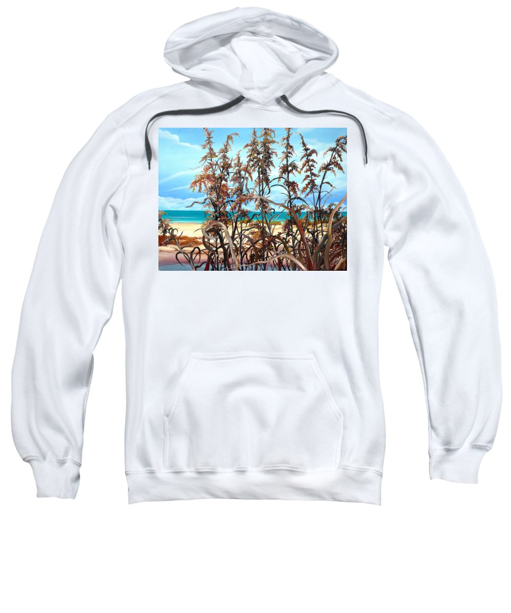 Ocean Painting Sea Oats Painting Beach Painting Seascape Painting Beach Painting Florida Painting Greeting Card Painting Sweatshirt featuring the painting Sea Oats by Karin Dawn Kelshall- Best