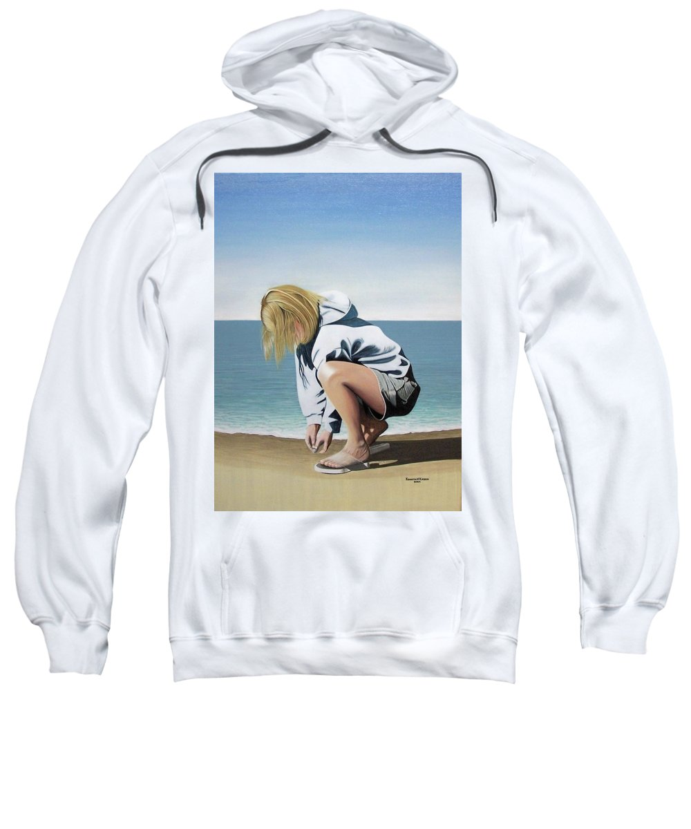Landscape Sweatshirt featuring the painting Sea Shells On The Beach by Kenneth M Kirsch