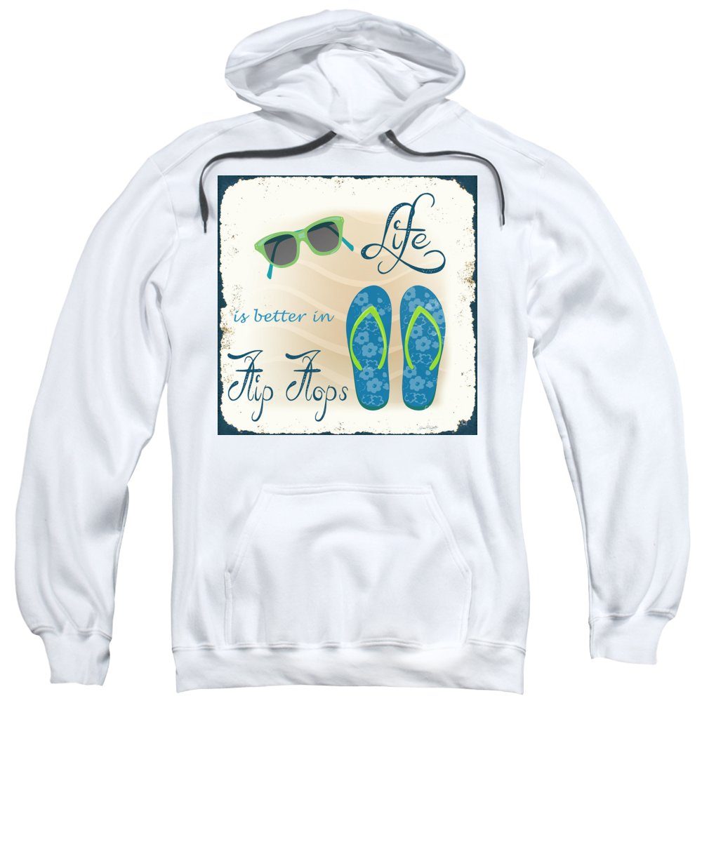 Nautical Sweatshirt featuring the painting Sea Side-jp2732 by Jean Plout