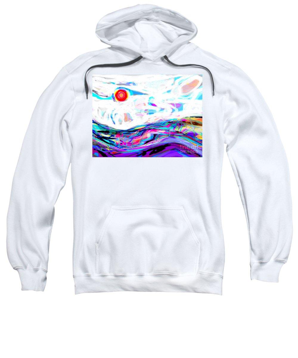 Ocean Fog Fillls The Sky Begining To Swallow The Sun Sweatshirt featuring the digital art Sea-smoke Swalllows The Sun by Expressionistart studio Priscilla Batzell