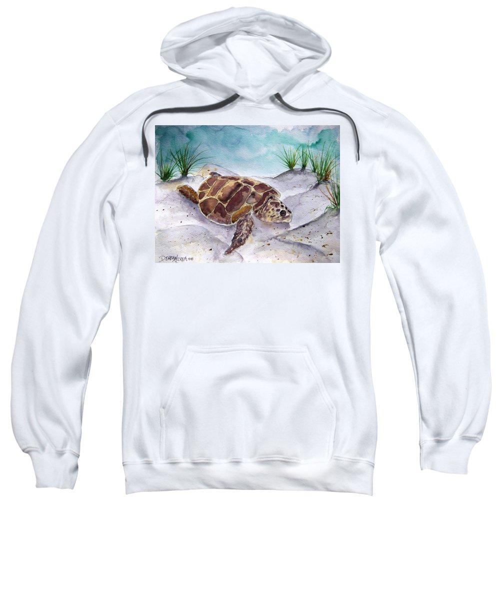 Sea Turtle Sweatshirt featuring the painting Sea Turtle 2 by Derek Mccrea