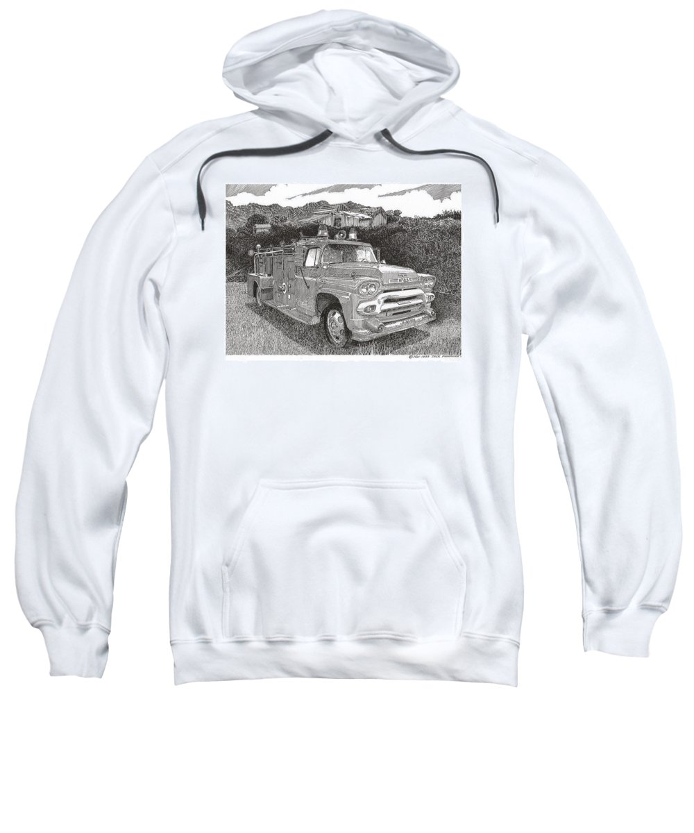 Images Of Seagrave Gmc Firetrucks. Automotive Prints Sweatshirt featuring the drawing Seagrave Gmc Firetruck by Jack Pumphrey