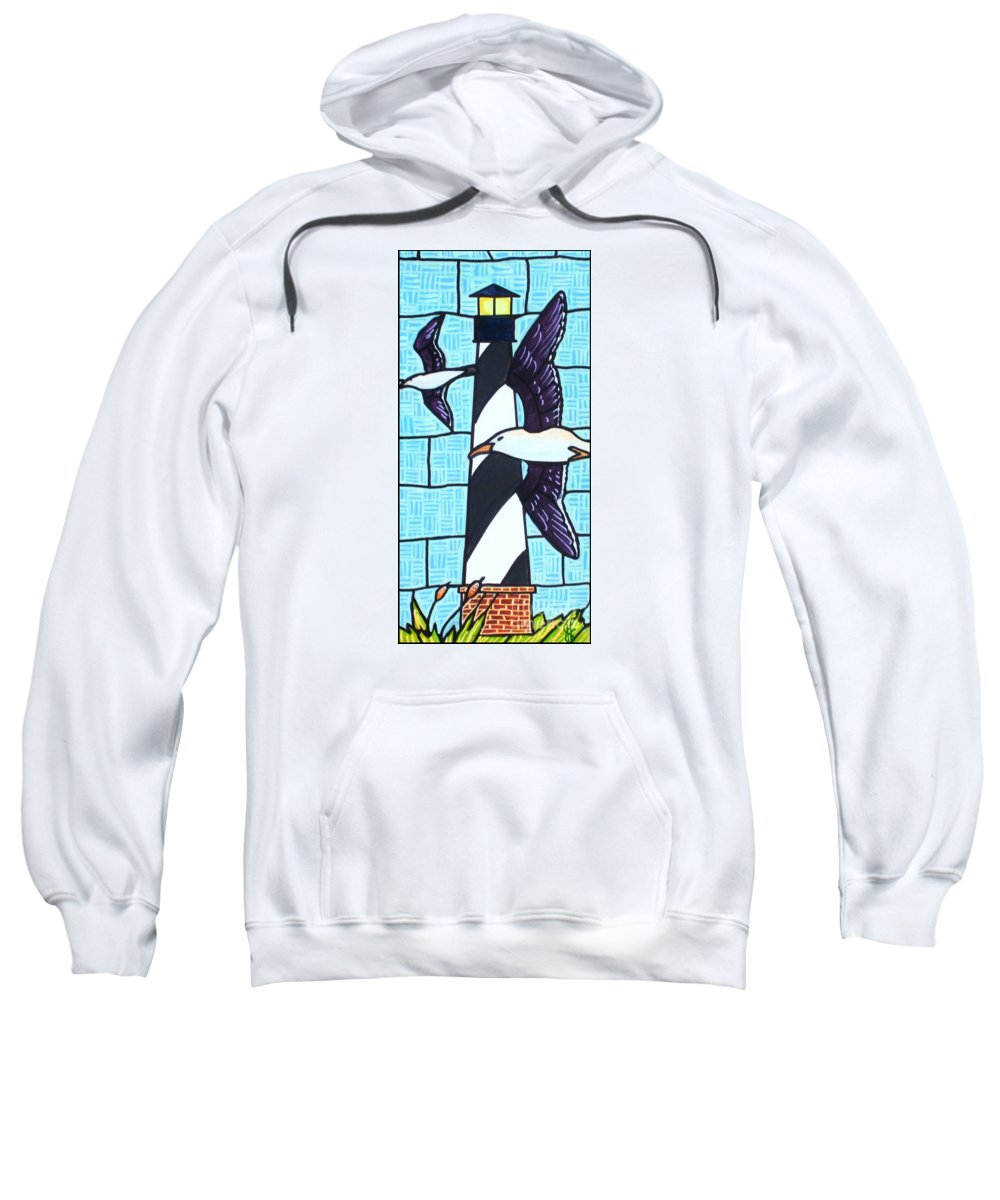 Seagulls Sweatshirt featuring the painting Seagulls And Lighthouse by Jim Harris
