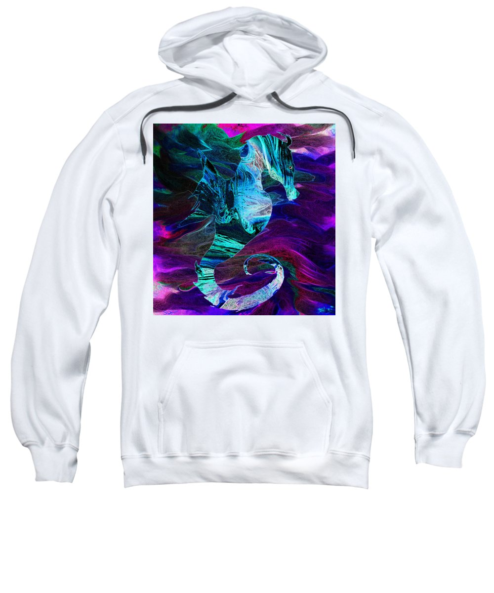 Seahorses Sweatshirt featuring the digital art Seahorse In A Lightning Storm by Abstract Angel Artist Stephen K