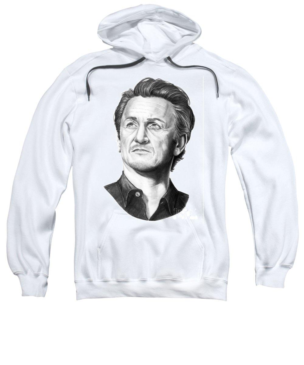 Portrait Sweatshirt featuring the drawing Sean Penn by Murphy Elliott
