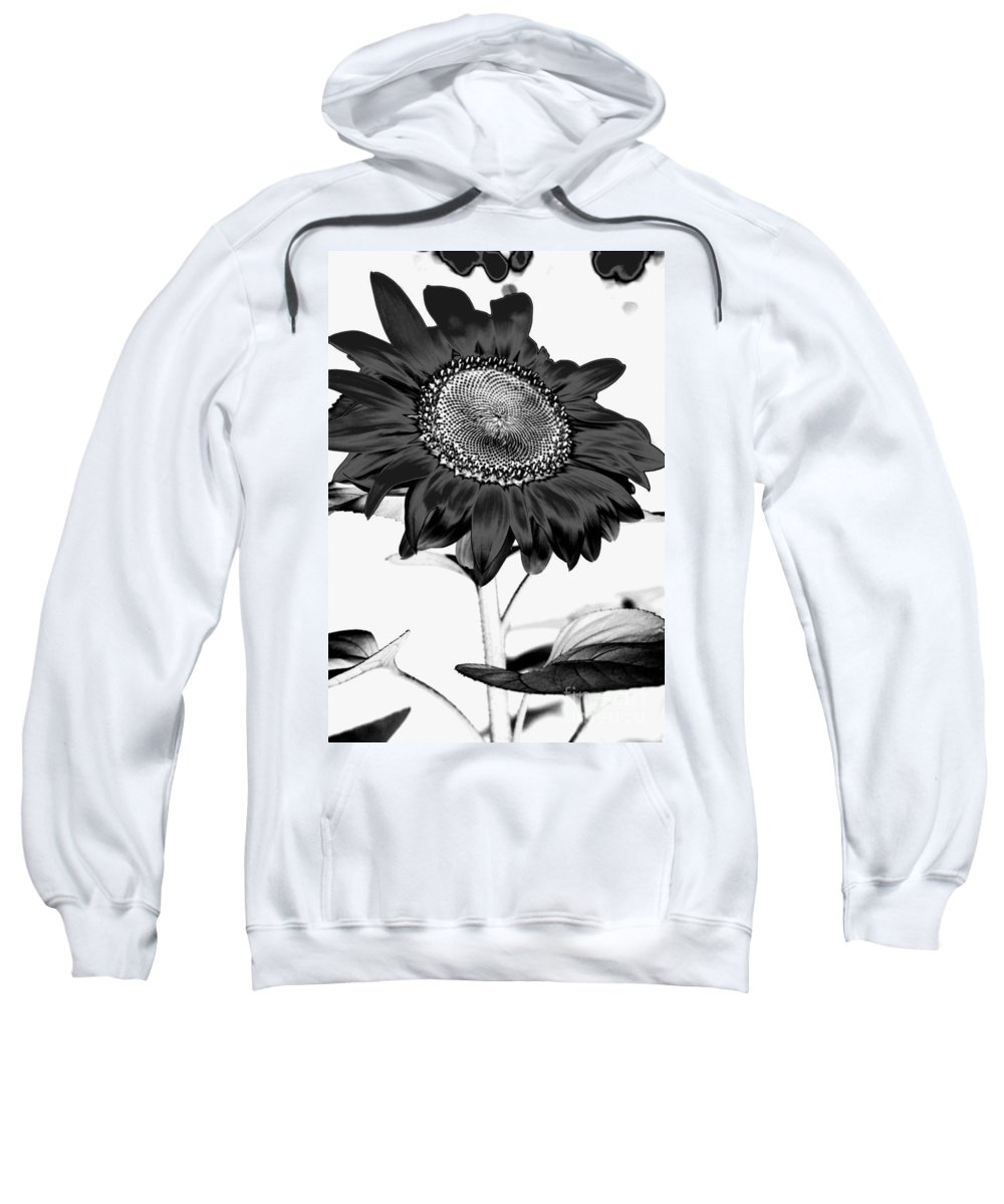 Black And White Photography Sweatshirt featuring the photograph Seattle Sunflower Bw Invert - Stronger by Heather Kirk