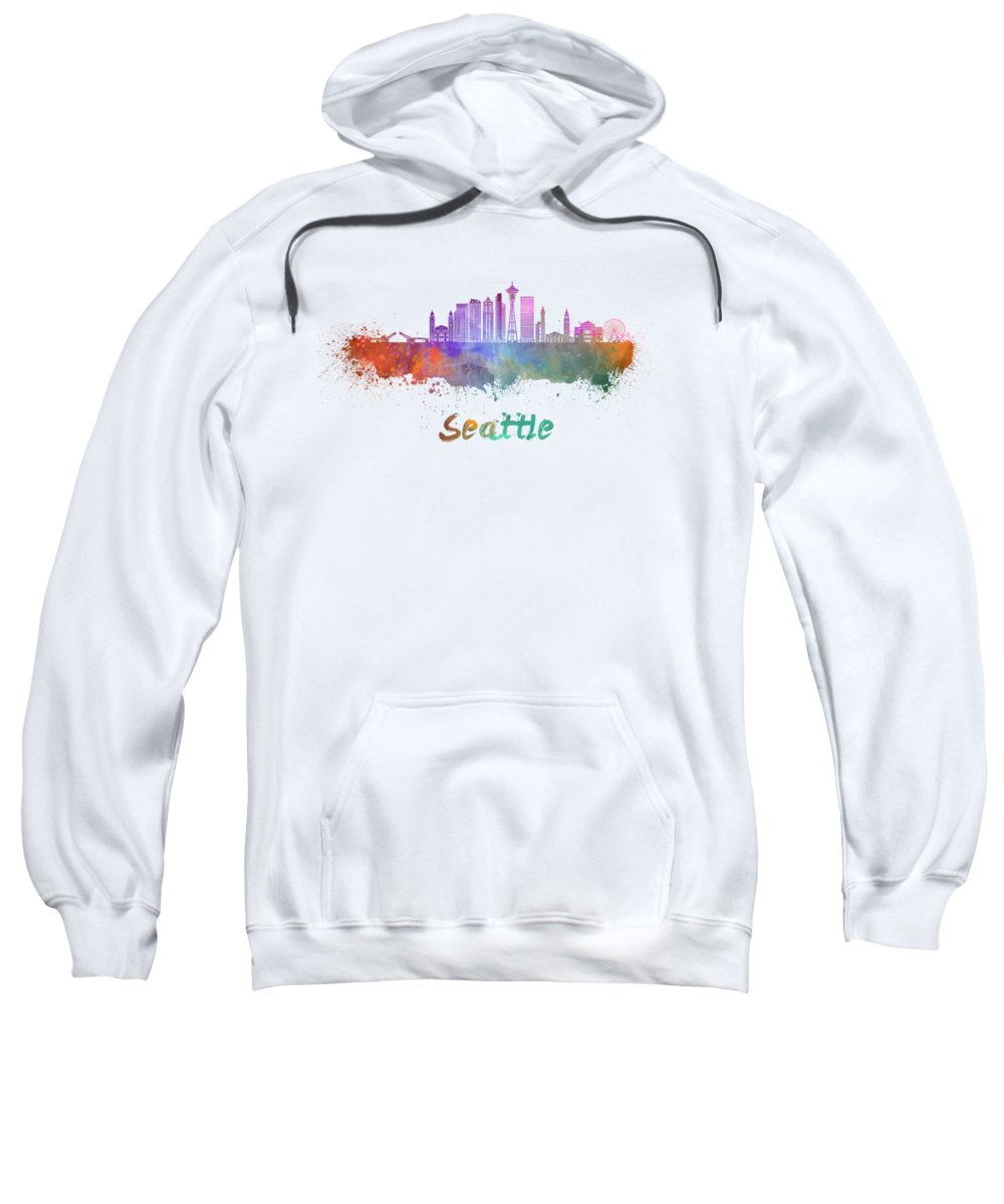 Seattle Sweatshirt featuring the painting Seattle V2 Skyline In Watercolor by Pablo Romero