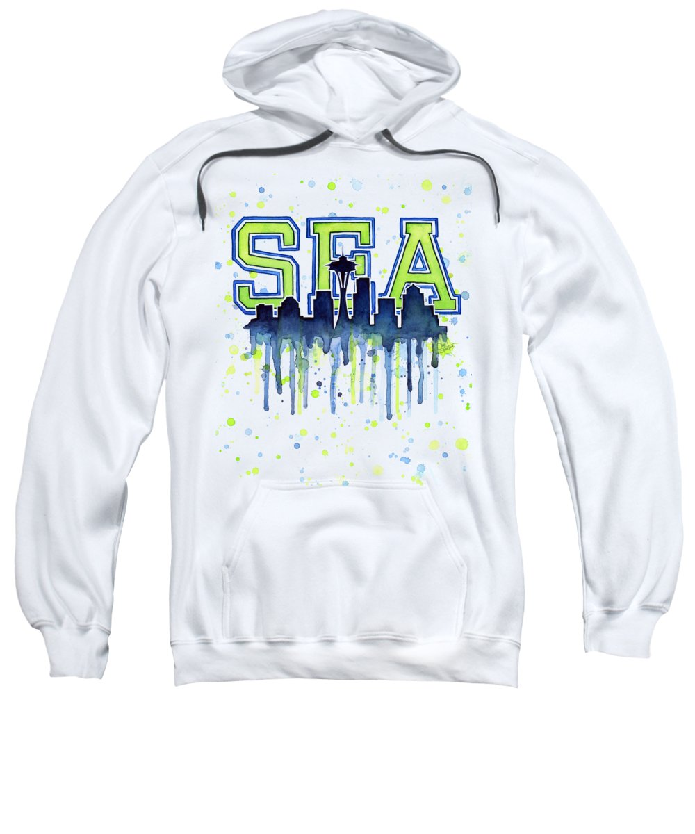 Watercolor Sweatshirt featuring the painting Seattle Watercolor 12th Man Art Painting Space Needle Go Seahawks by Olga Shvartsur