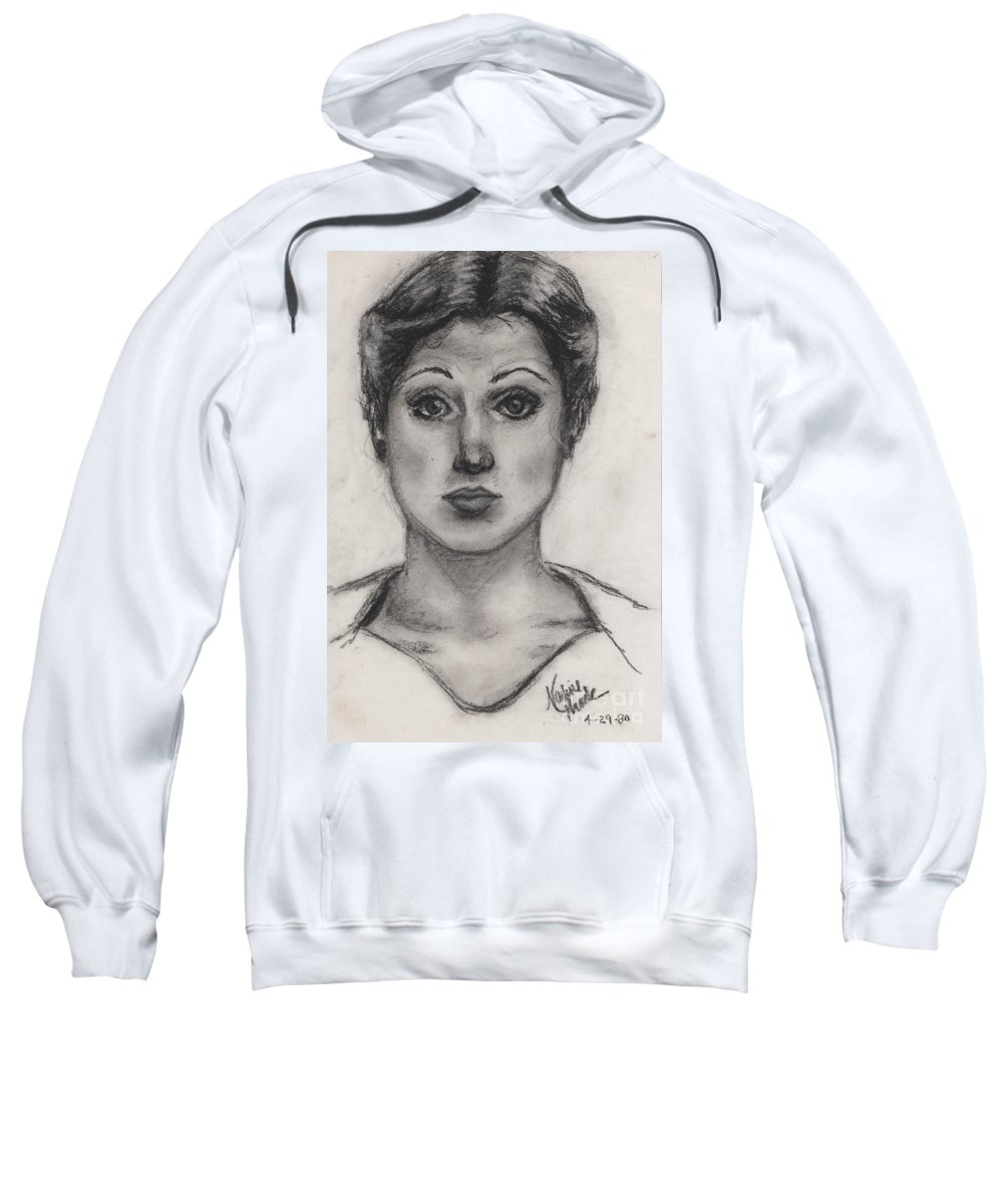 Nadine Sweatshirt featuring the drawing Self Portrait At Age 18 by Nadine Rippelmeyer