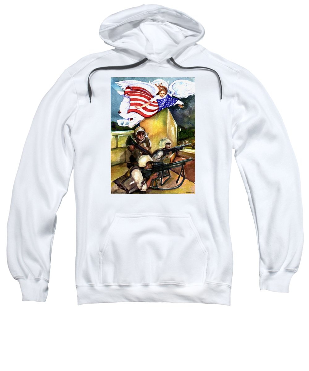 Elle Fagan Sweatshirt featuring the painting Semper Fideles - Iraq by Elle Smith Fagan