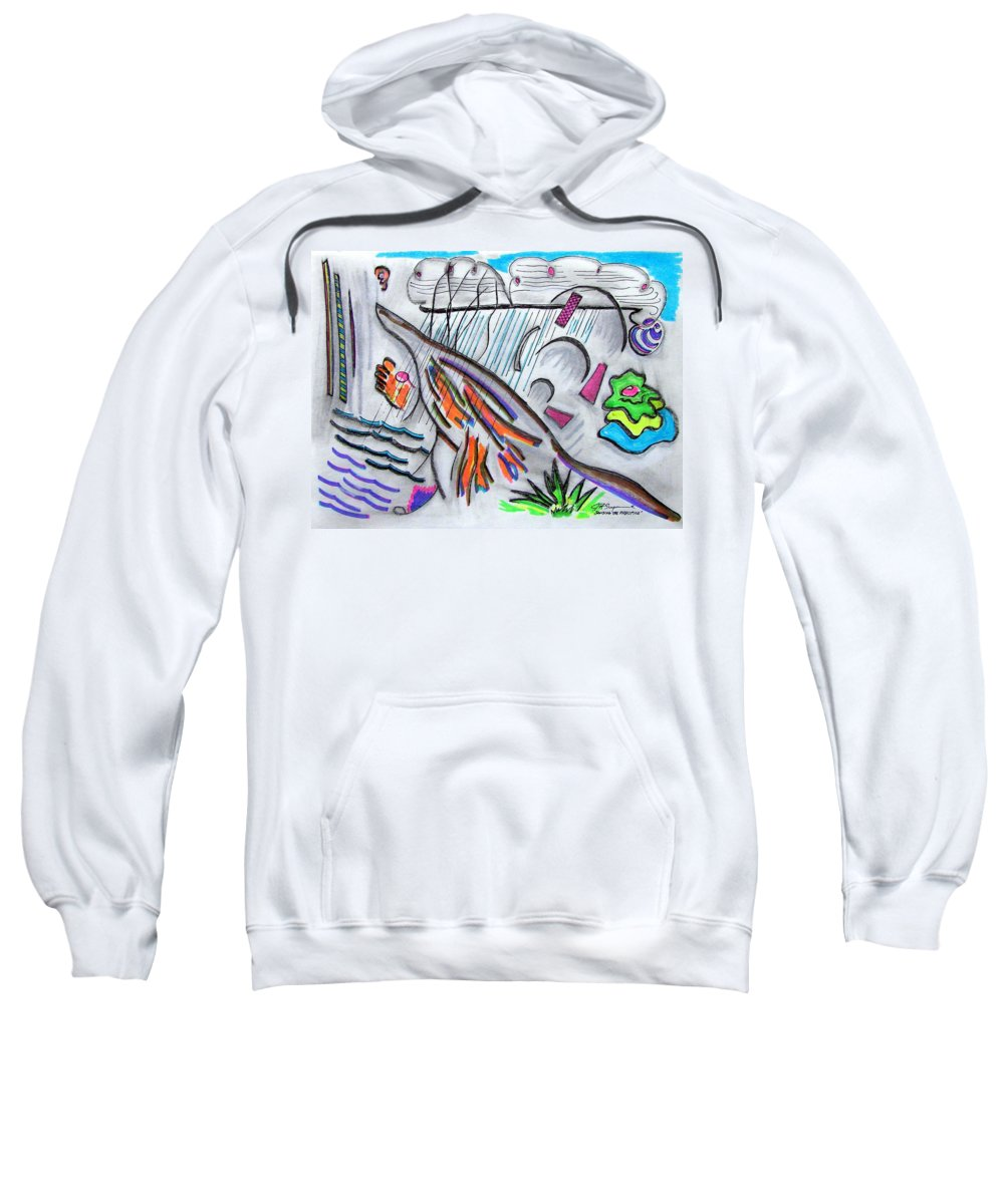 Abstract Drawing Sweatshirt featuring the drawing Sensing The Precipice by J R Seymour