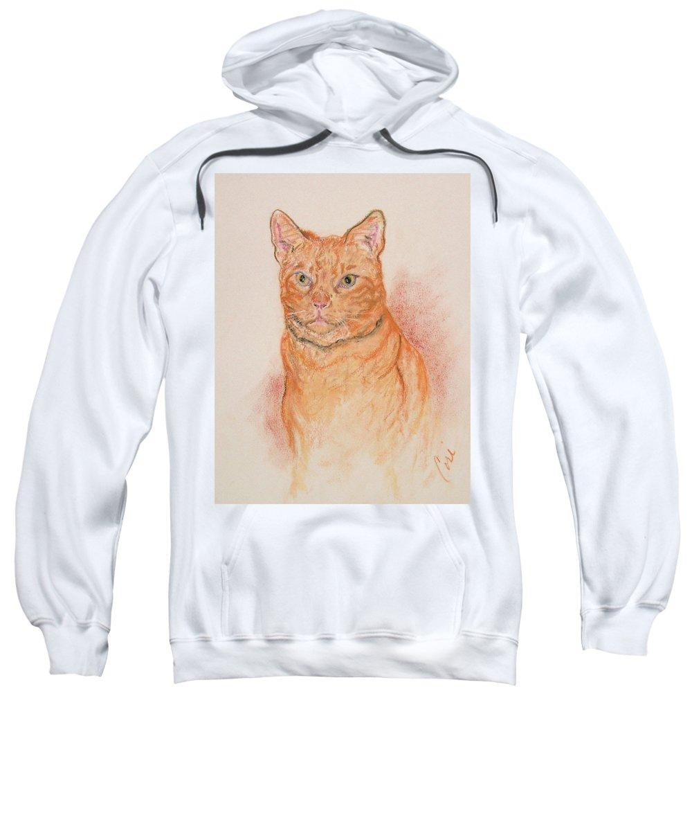 Cat Sweatshirt featuring the drawing Sentinel by Cori Solomon