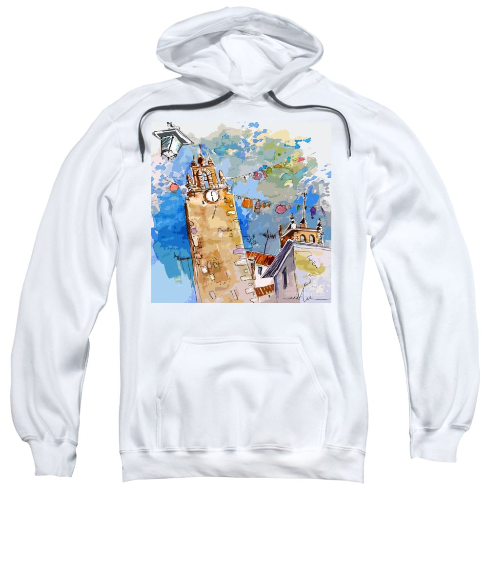 Painting Of Serpa Alentajo Portugal Travel Sketch Sweatshirt featuring the painting Serpa Portugal 08 Bis by Miki De Goodaboom