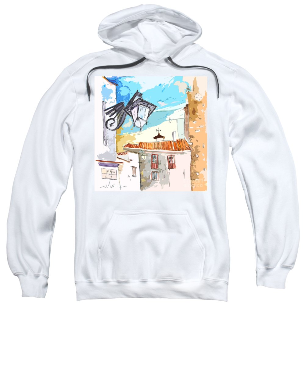 Painting Of Serpa Alentajo Portugal Travel Sketch Sweatshirt featuring the painting Serpa Portugal 09 Bis by Miki De Goodaboom