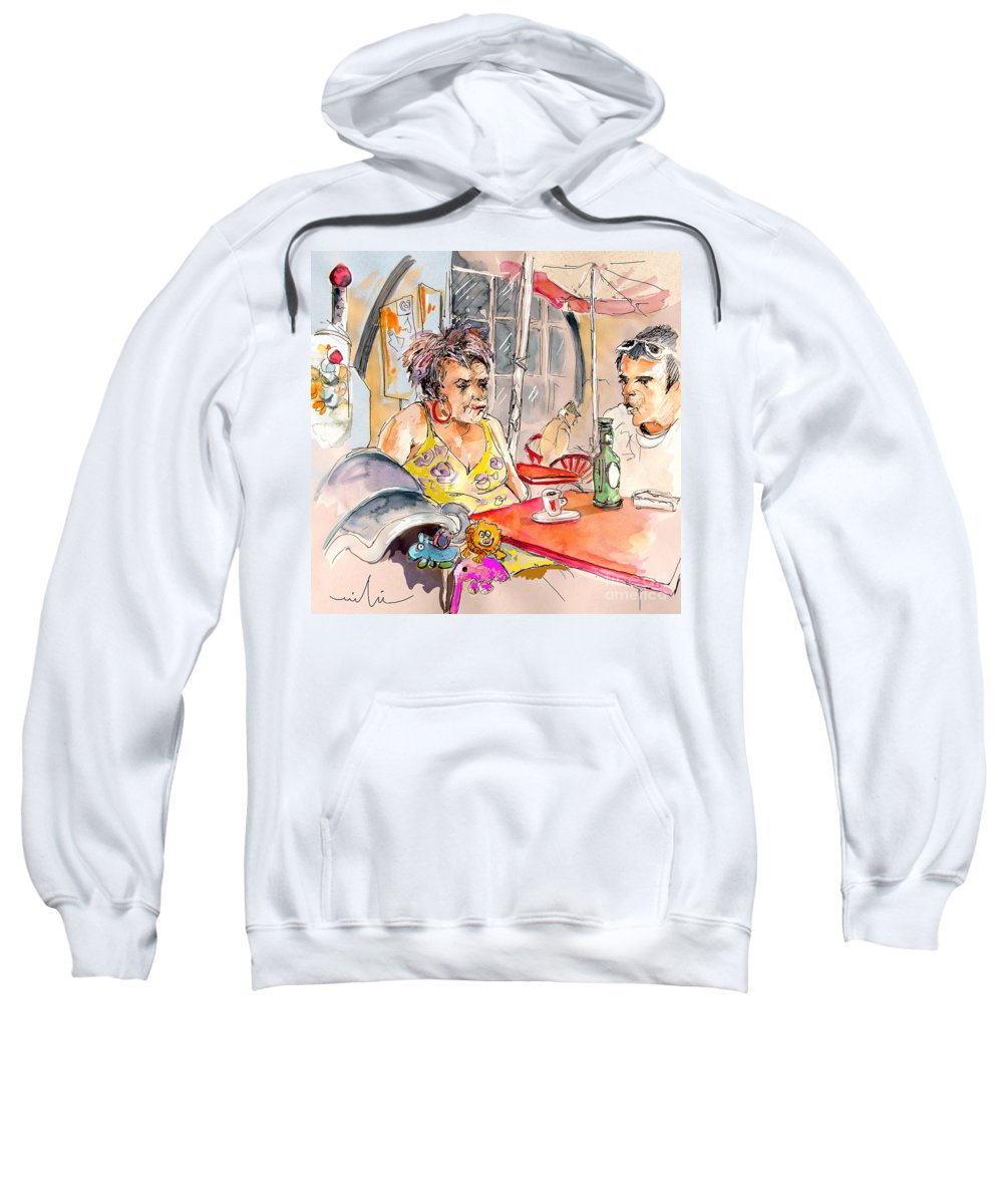Water Colour Aquarelle Drawings Caricatures From People In Serpa Portugal By Miki Sweatshirt featuring the painting Serpa Portugal 34 by Miki De Goodaboom