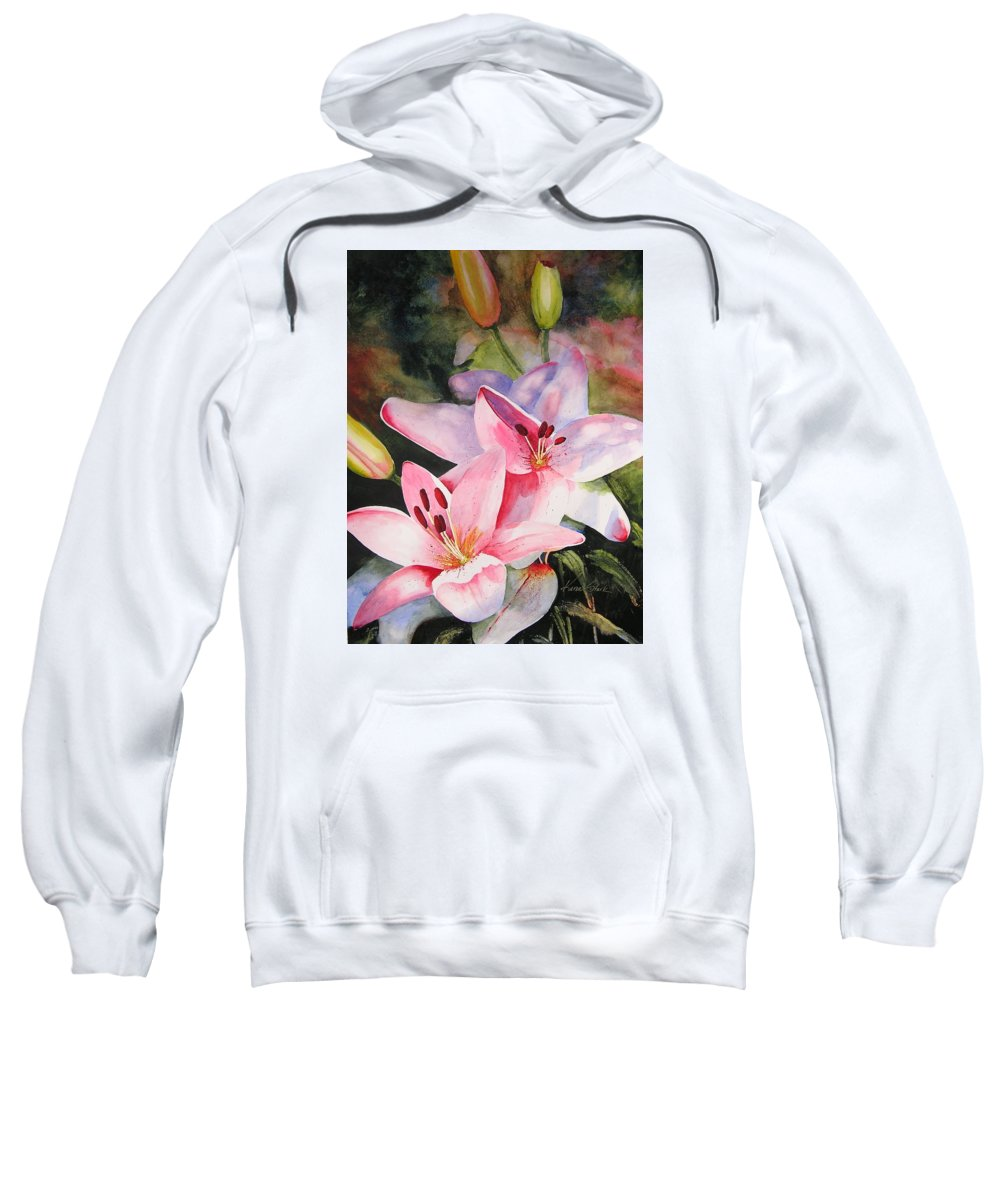 Lilies Sweatshirt featuring the painting Shady Ladies by Karen Stark