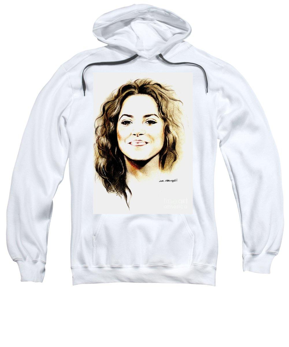 Shakira Sweatshirt featuring the drawing Shakira by Lin Petershagen