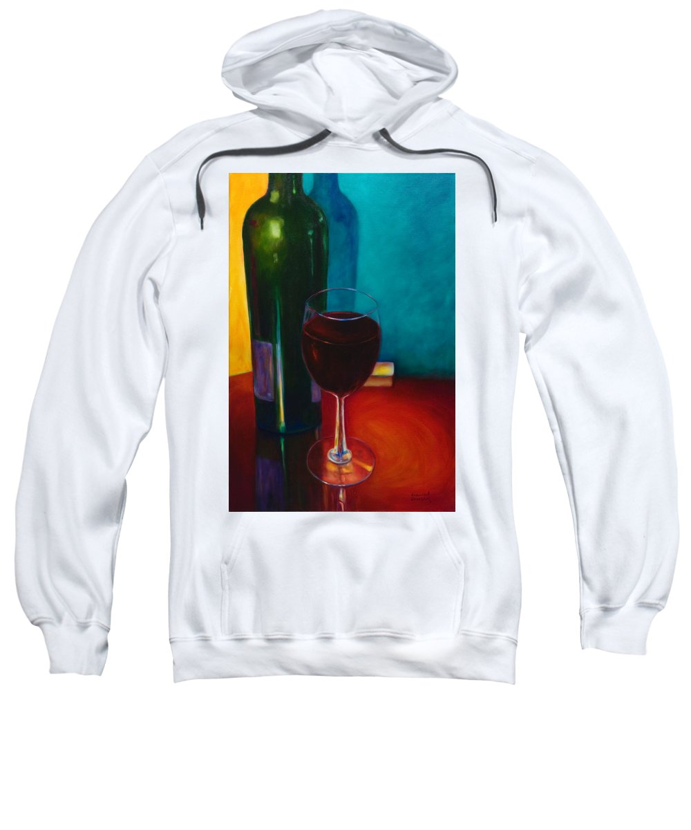 Wine Bottle Sweatshirt featuring the painting Shannon's Red by Shannon Grissom