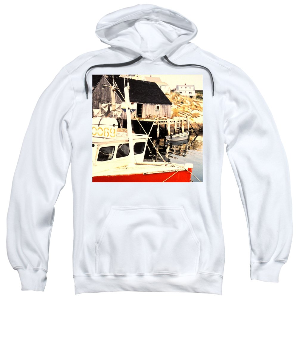 Peggys Cove Sweatshirt featuring the photograph Sheltered Port by Ian MacDonald