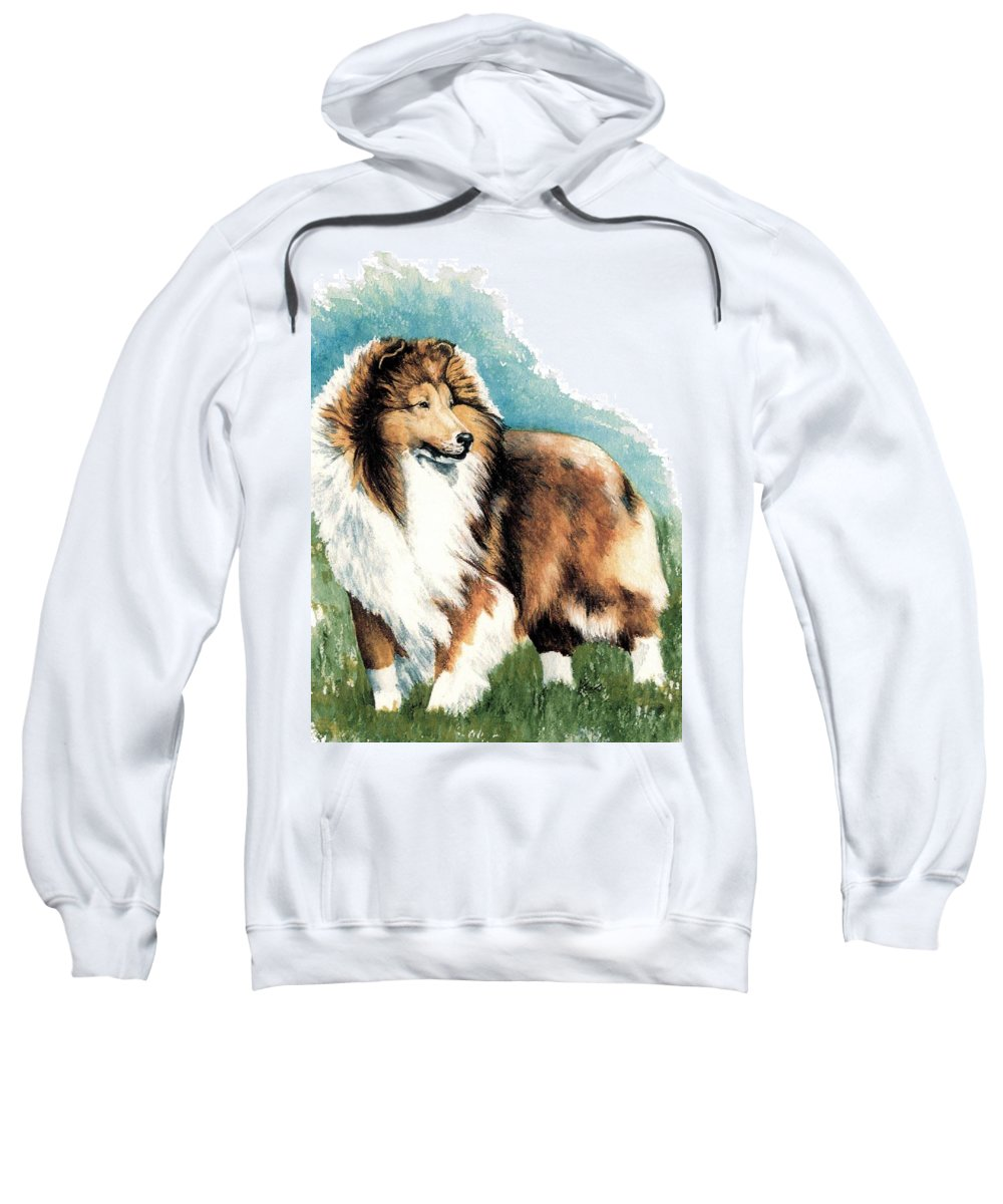 Shetland Sheepdog Sweatshirt featuring the painting Sheltie Watch by Kathleen Sepulveda