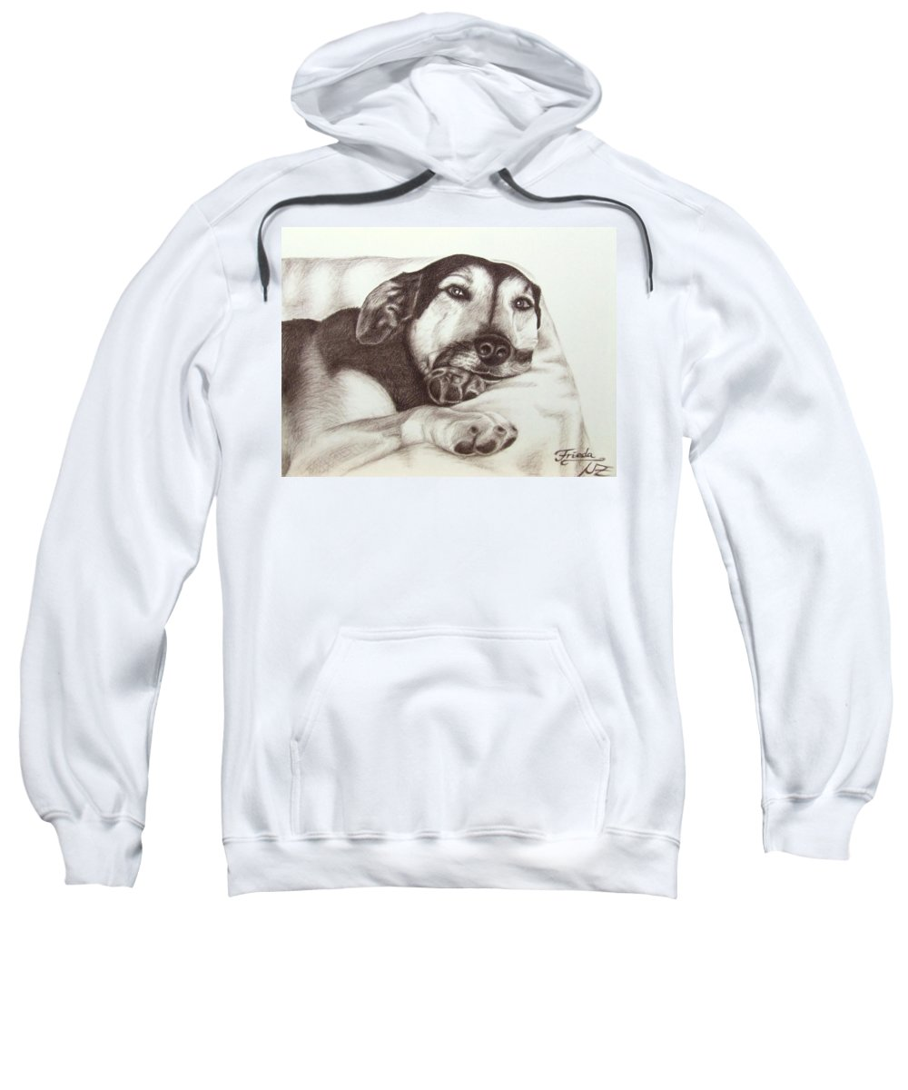 Dog Sweatshirt featuring the drawing Shepherd Dog Frieda by Nicole Zeug