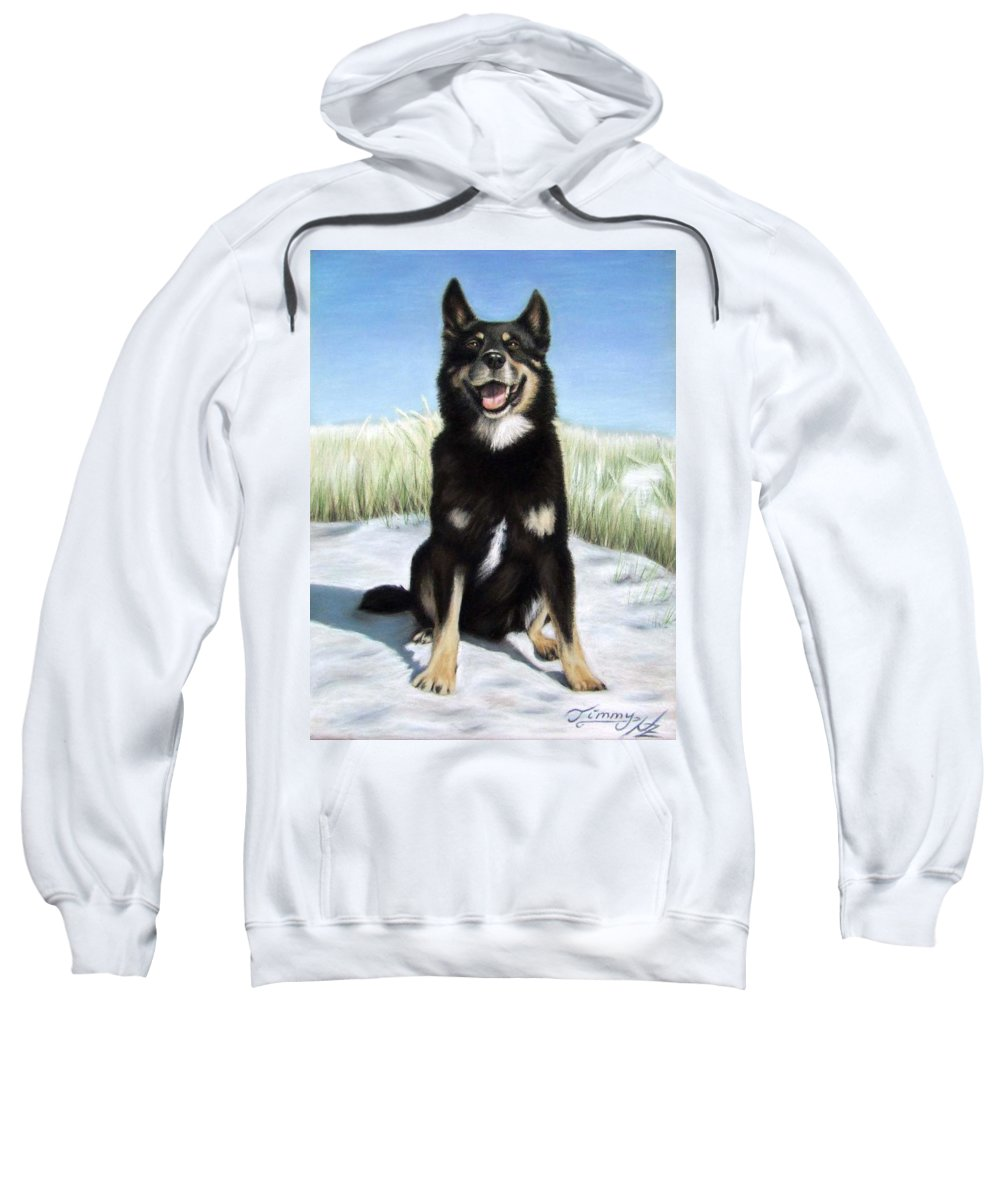 Dog Sweatshirt featuring the pastel Shepherd Mix Timmy by Nicole Zeug