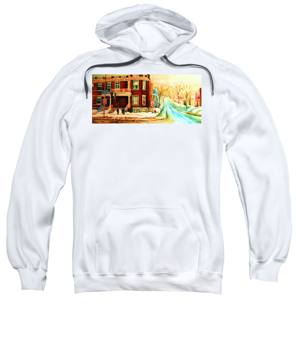 Montreal Sweatshirt featuring the painting Sherbrooke In Winter by Carole Spandau