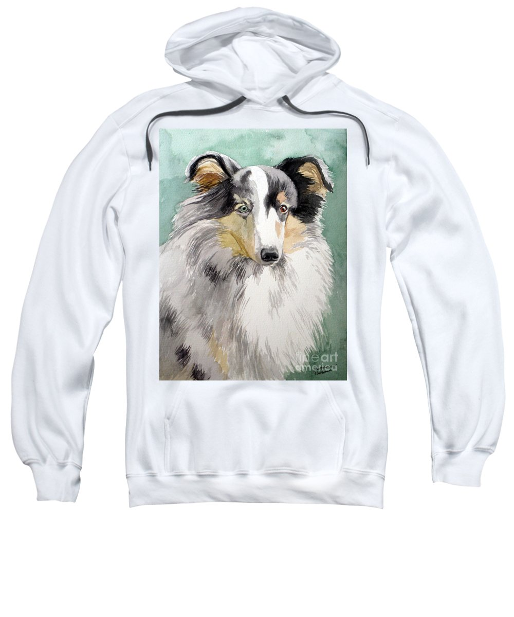 Dog Sweatshirt featuring the painting Shetland Sheep Dog by Christopher Shellhammer