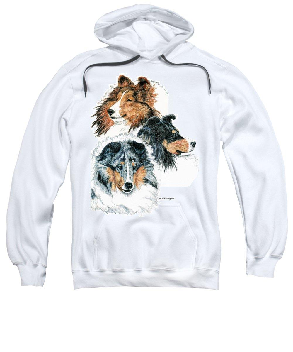 Shetland Sheepdog Sweatshirt featuring the drawing Shetland Sheepdogs by Kathleen Sepulveda