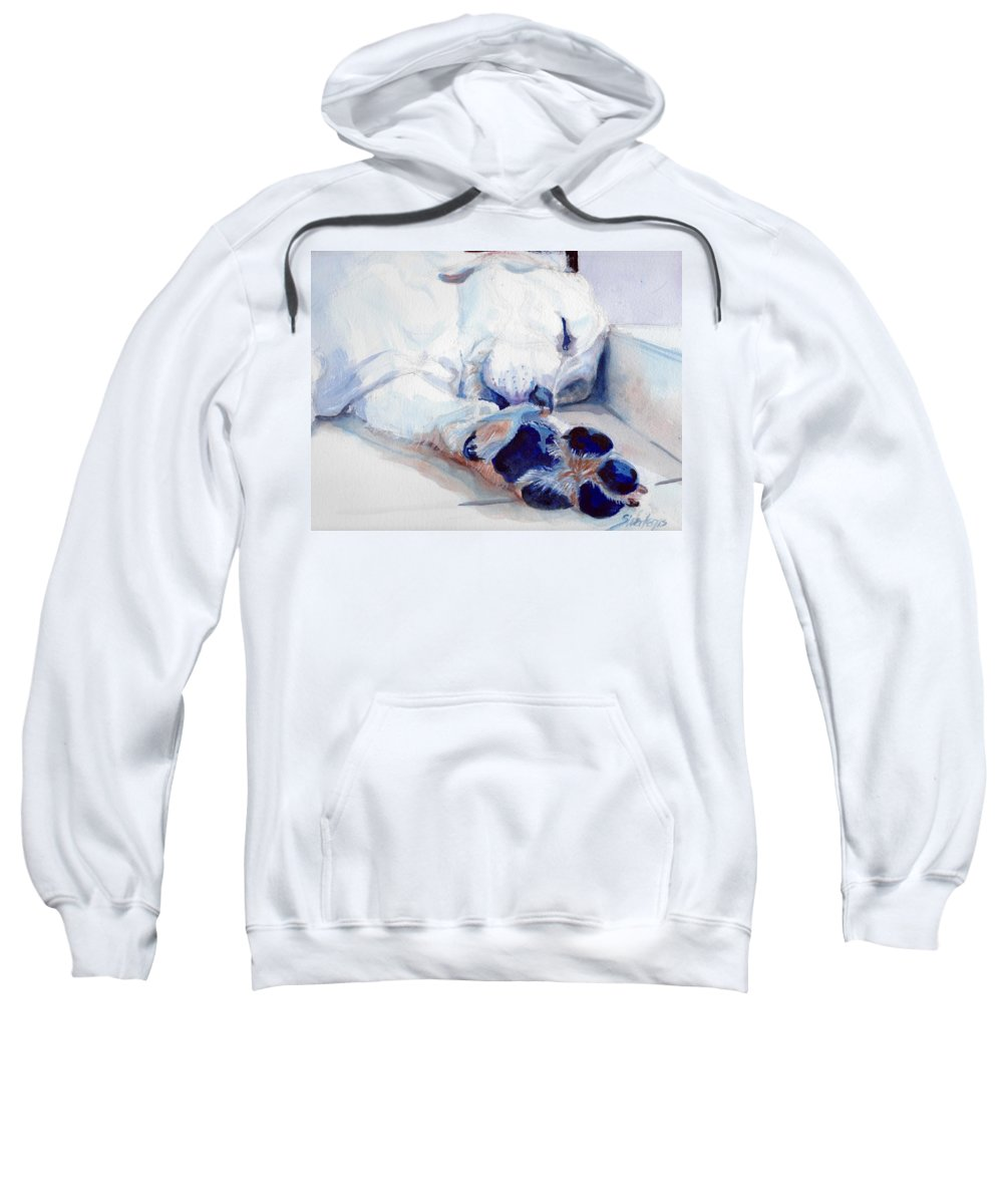 White Sweatshirt featuring the painting Shhhhhhh by Sheila Wedegis