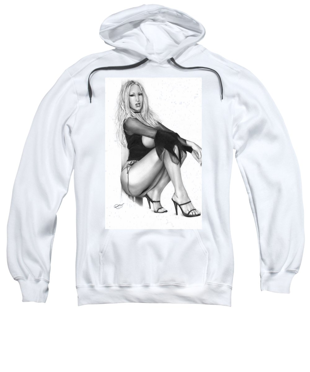 Pete Sweatshirt featuring the drawing Shimmer by Pete Tapang