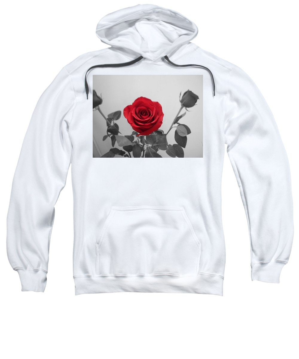 Roses Photography Sweatshirt featuring the photograph Shining Red Rose by Georgeta Blanaru