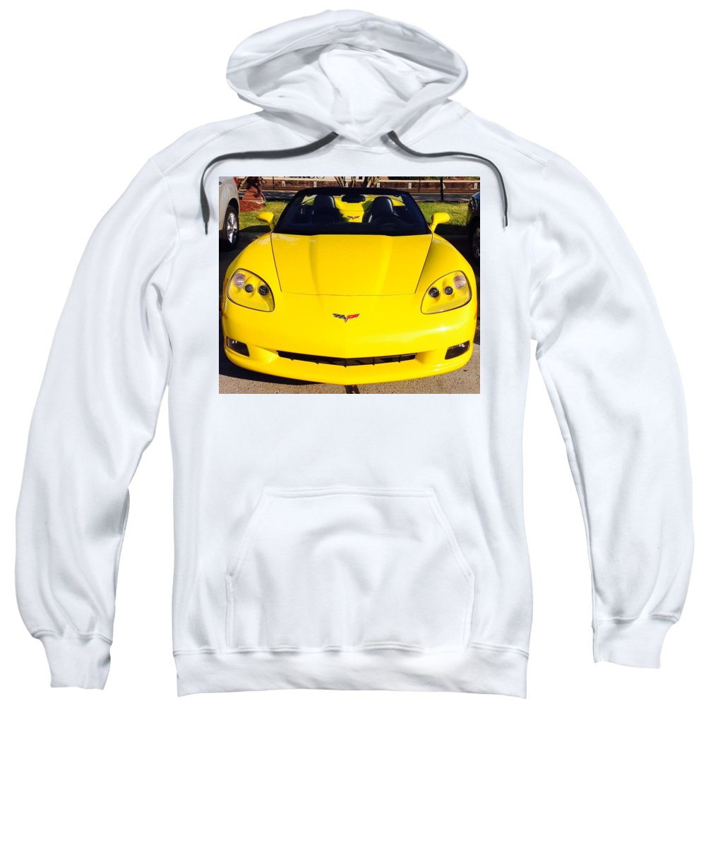 Sweatshirt featuring the photograph Shiny Yellow Corvette Convertible by Jacqueline Manos
