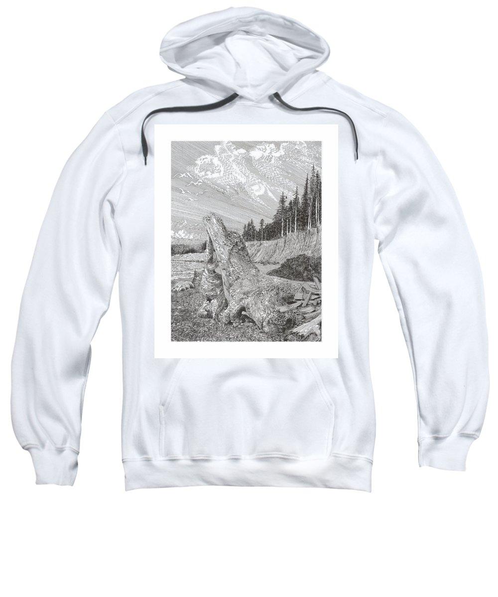 Nautical Marine Driftwood Sweatshirt featuring the drawing Shipwrecked by Jack Pumphrey