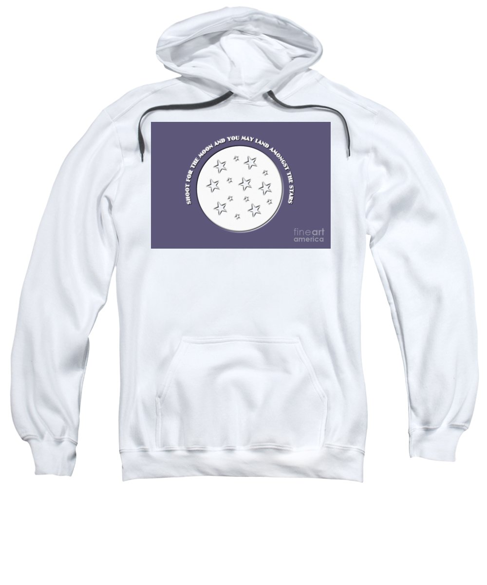 Shoot For The Moon Sweatshirt featuring the digital art Shoot For The Moon by Barefoot Bodeez Art