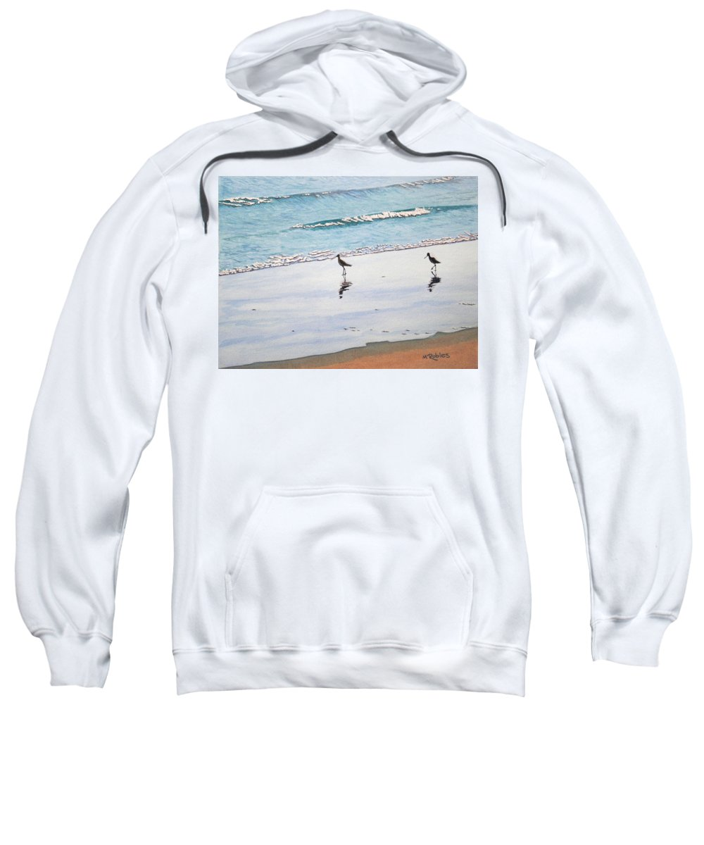 Water Sweatshirt featuring the painting Shore Birds by Mike Robles