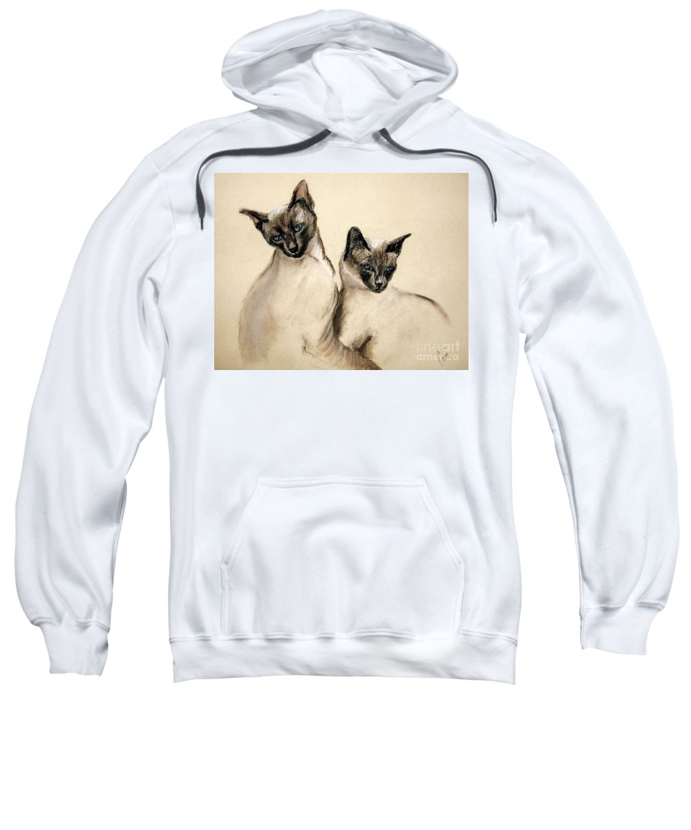 Cat Sweatshirt featuring the drawing Sibling Love by Cori Solomon