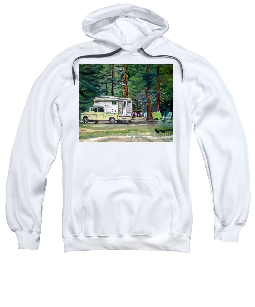 Camping Sweatshirt featuring the painting Sierra Campsite by Donald Maier