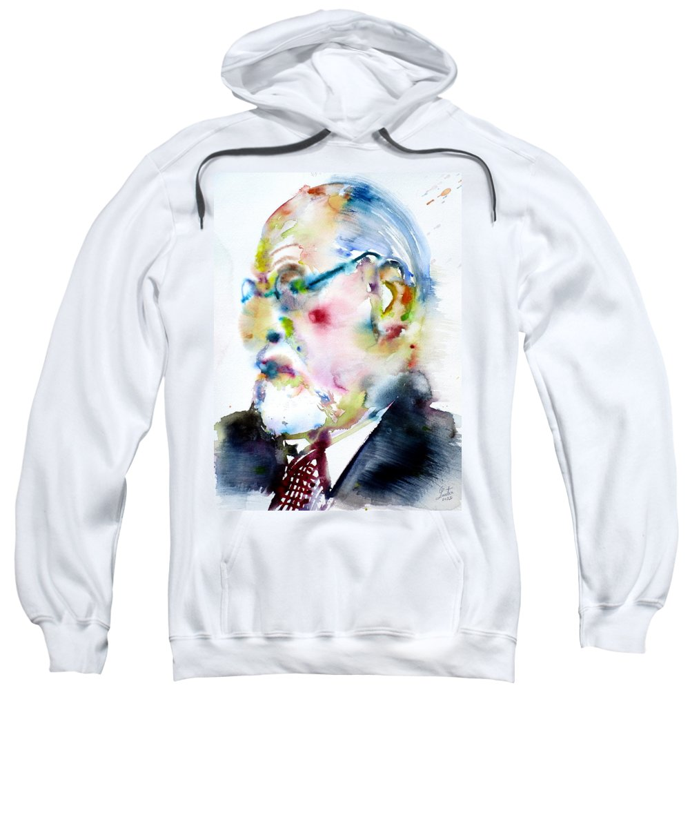 Freud Sweatshirt featuring the painting Sigmund Freud - Watercolor Portrait.3 by Fabrizio Cassetta