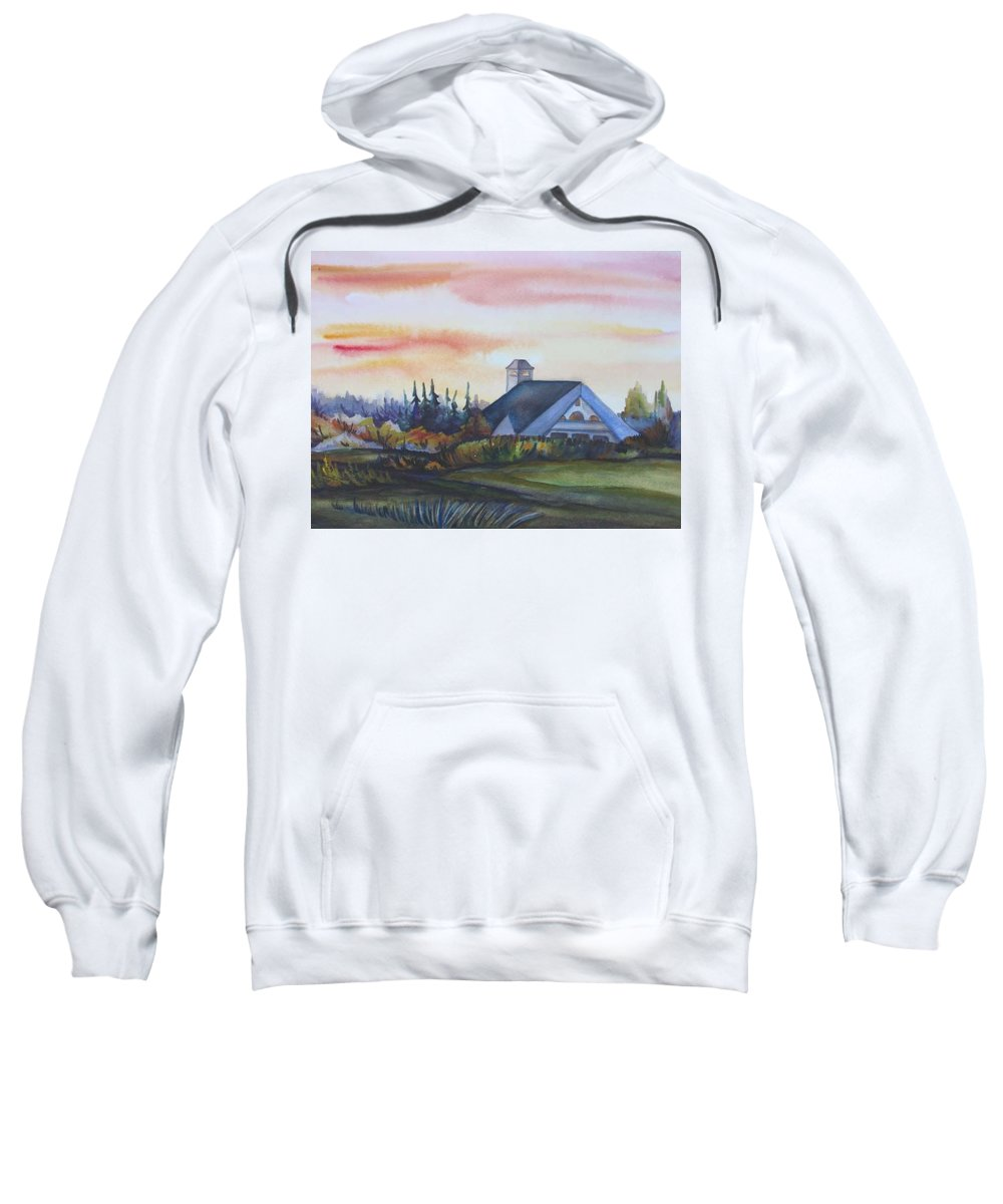 Watercolor Sweatshirt featuring the painting Silence Upon Midnapore by Anna Duyunova