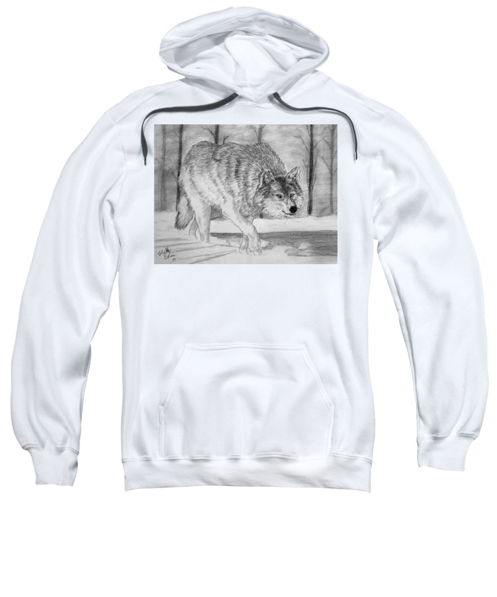 Wolf Sweatshirt featuring the drawing Silent Gait by Shelley Blair