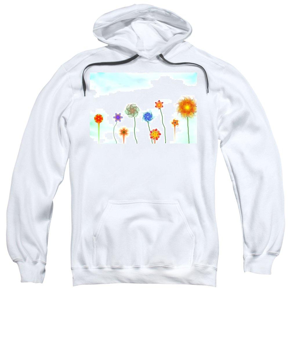 Fantasy Sweatshirt featuring the digital art Silly Fractal Garden by David Lane