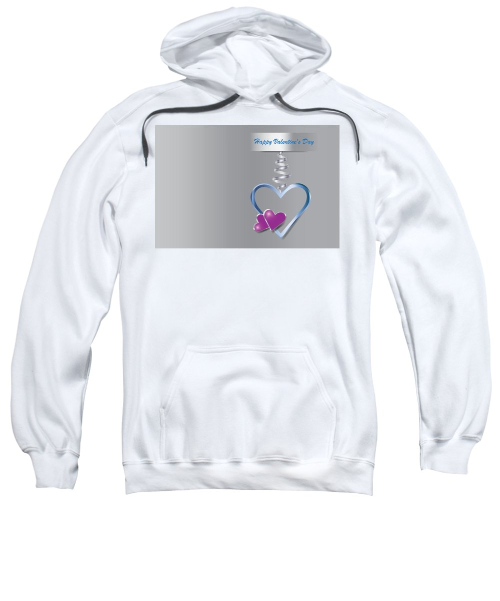 Heart Sweatshirt featuring the drawing Silver Metal Frame Heart With Two Little Purple Hearts by Jaroslav Frank