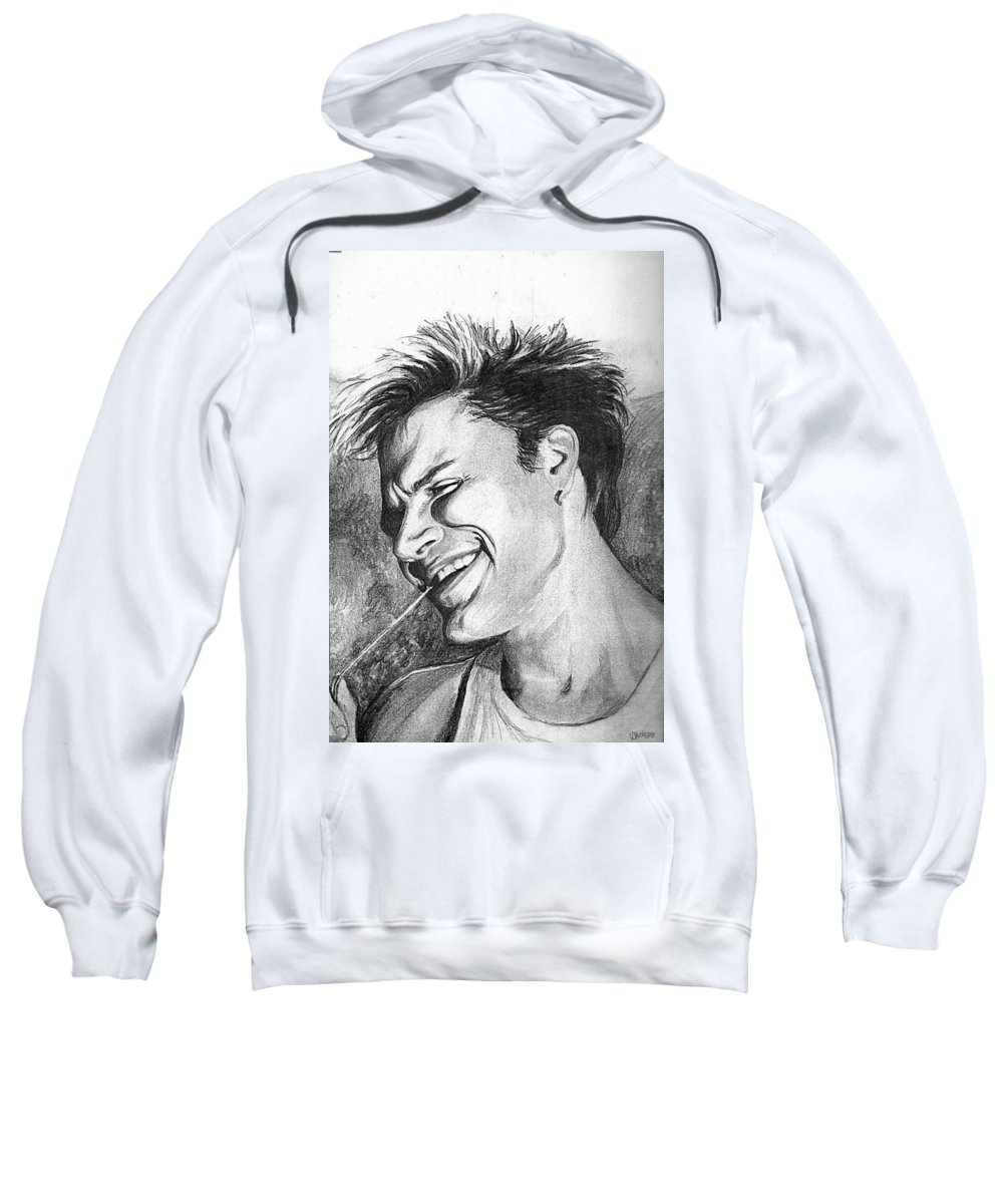 Simon Man Face Portrait Young Fresh Smile Sweatshirt featuring the drawing Simon by Veronica Jackson